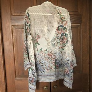 Johnny Was Tops - JOHNNY WAS FLORAL TROPICAL BIRD SHEER TUNIC TOP M